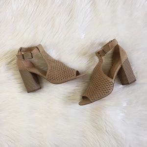 Express Tan Faux Suede Cut Out Sandals .